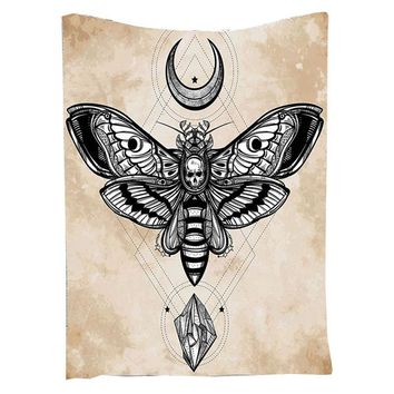 Skull Butterfly Mandala Tapestry Moon Star Tapestry Wall Hanging Diamond Shining Indian Tapestry Mandala Blanket Fly Animal