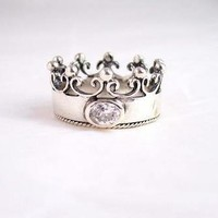 "Sterling Silver Crown Ring with Cubic Zirconia ""Princess"", Size 7"