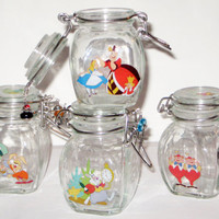 Alice in Wonderland Jar Set - Beaded Wire Bail Latch Lid Alice Queen White Rabbit Hatter Tweedle