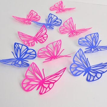 Fuchsia Violet Butterflies Wall Art - Large Paper Butterflies - 3D Paper Butterflies - Butterfly Decoration - Butterfly Birthday Décor