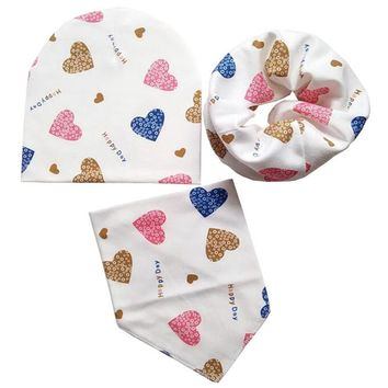 3pcs/set Baby hat scarf and bib Spring Autumn Cotton Baby Hats Baby Cap Child Scarf Collar Infant Hat Set Cute Newborn Gifts