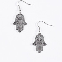 Hanging Hamsa Hand Earrings in Silver - Urban Outfitters