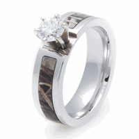 Titanium Realtree AP Camo round cz Engagement Wedding Ring = 1932770500