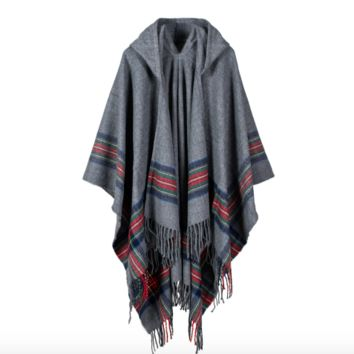 Hooded Plaid Poncho in Gray