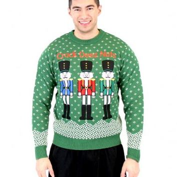 Ugly Christmas Crack Deez Nuts Nutcrackers Adult Green Sweater