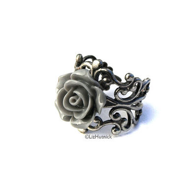 Gray Rose Ring. Adjustable Ring. Cocktail Ring. Storm Rose Ring