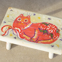 Folk Art Wood Foot Stool, Painted with Cat Theme, In Peter Hunt Style, Foot Stool