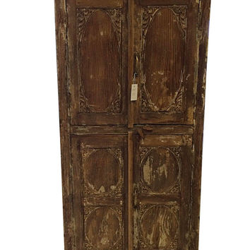 Antique Armoire Furniture Indian Almira Warm Teak Shabby Chic Chakra Cabinet