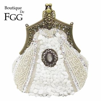 Boutique De FGG Vintage Bronze Plated Women Silver Beaded Clutch Purse Evening Metal Clutches Bag Wedding Bridal Beading Handbag
