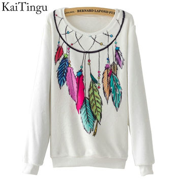 KaiTingu Brand 2017 New Fashion Autumn Women Long Sleeve Flannel Tracksuit Hoodie Dream Catcher Print Casual Pullover Sweatshirt
