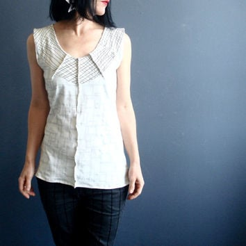 Gratitude Walks - iheartfink Handmade Hand Printed Womens Modern Minimal Off-White V Neck Wearable Art Geometric Print Sleeveless Jersey Top