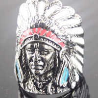Indian Chief Head Ring Enamel