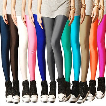 Fashion Women Neon Candy Shiny Bright Fluorescent Glow Stretch Leggings Pants [8833447436]