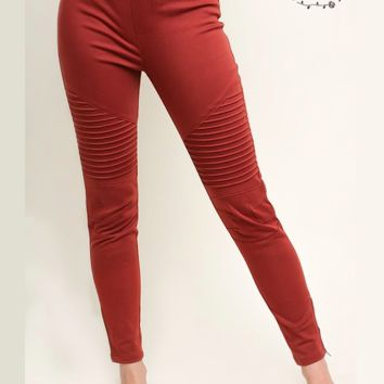 Denim Twill Moto Jeggings - Terracotta