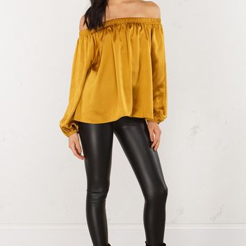 Satin Off Shoulder Top in Mustard