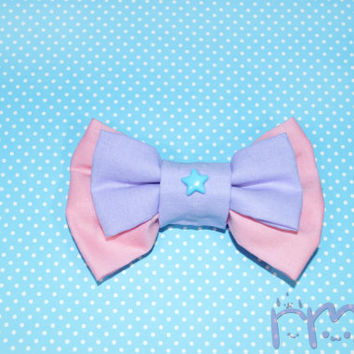Pastel Pink and Purple Hair Bows Kawaii Double Bows Cute Girls Bows Lolita Fairy Kei Hair Bows Pastel Goth Hiar Bow Clip