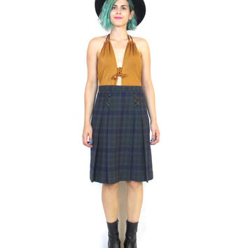 70s Plaid Wool Skirt Pleated School Girl Skirt Leather High Waisted Knee Length Skirt Punk Kilt (M/L)