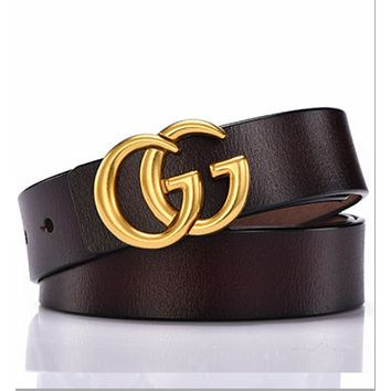 GUCCI Women's Elegant Trendy Vintage Belts Dark Coffee