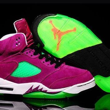 DCCKL8A Jacklish Air Jordan 5 Retro Gs Purple Urkel Purple Green Suede For Sale