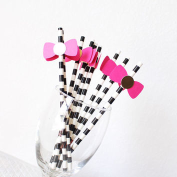 Party straws - Kate Spade Themed Party - Pink and Black Party Straws - Bridal Shower Decorations - Bachelorette Party Decorations