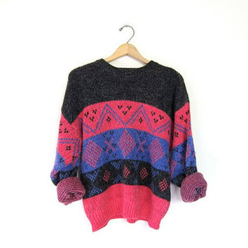 Geometric Sweater Purple Knit Fuzzy Bohemian Abstract 80s Grunge Ski Retro Pink 1980s Slouchy Vintage Hipster Womens Medium Large