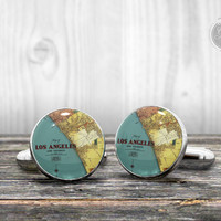 Cufflinks - Los Angeles vintage map cuff links - Very elegant mens cuff links