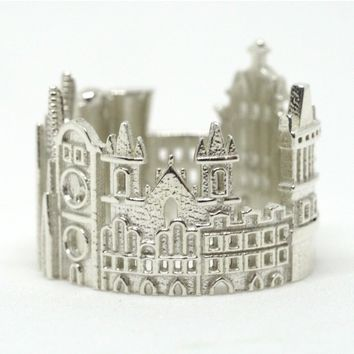 Prague Cityscape Statement Ring