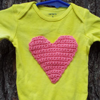 Yellow Heart Onesuit- Yellow Onesuit with Heart Applique, Long Sleeve Onesuit- Baby Girl Gift- New Baby Gift- Heart Bodysuit- 3 Month Baby Girl