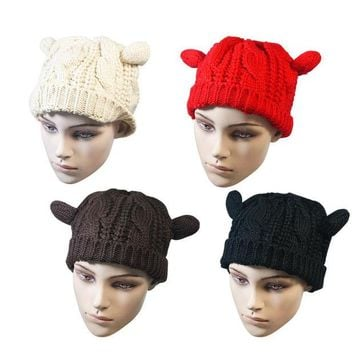 LMFUS4 New winter hats for women Lady Girls Winter Warm Knitting Wool Cute Cat Ear Beanie Ski 4 Solid colors beauty skullies beanies