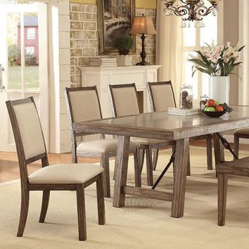 Colette Industrial Style Dining Table, Rustic Oak Finish-CM3562T