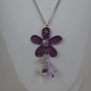 Flower Pendant, Purple Flower Pendant, Fun Flower Pendant, Hand Painted Metal Flower with Dangles, Springtime Flower Pendant