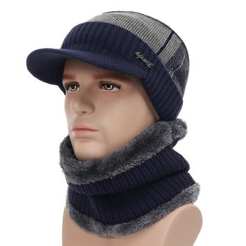 Thick Warm Winter Hats Skullies Beanies Hat For Men Women Wool Scarf Caps Balaclava Mask Knitted Hat Gorras Bonnet