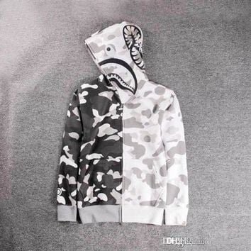 White Camouflage Shark Head Print Men's Hoodies Windbreaker Hoodies Fashion Cardigan Earthly Plus Cashmere High Qualiy Hoodie