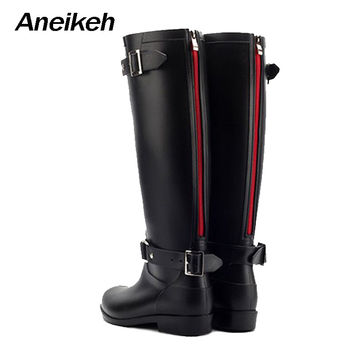 Aneikeh Punk Style Zipper Tall Boots Women's Pure Color Rain Boots Outdoor Rubber Water shoes For Female 36-41 Plus size