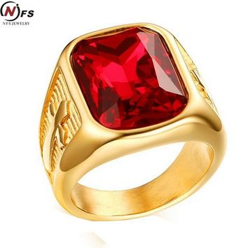 NFS Gold-Color Big Red Stone Cool Male Rings Jewelry Stainless Steel Engraved Vintage Weeding Brand Rings For Men Party Jewelry