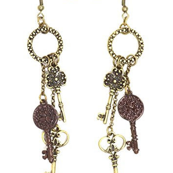 Antique Skeleton Key Chandelier Earrings Gold Tone EH61 Dangle Charm Victorian Fashion Jewelry
