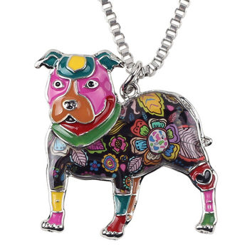 Colorfully Painted Pit Bull  Dog Choker Necklace with Silver Chain  FREE SHIPPING