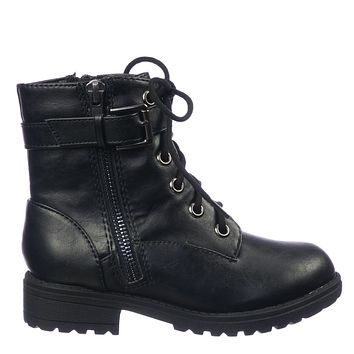 Other2 Children Combat Boots - Girls Lace Up Lug Sole Bootie
