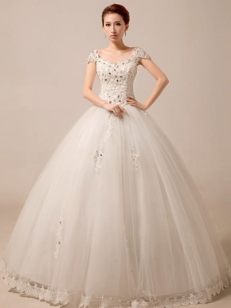 Cap sleeves princess ball gown wedding from jojo dress for Ball gown wedding dresses with sleeves