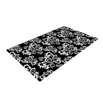 "Mydeas ""Sweetheart Damask Black & White"" Pattern Woven Area Rug"