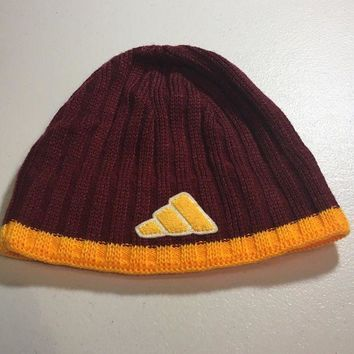 ESBONC. BRAND NEW ADIDAS MAROON WITH YELLOW TRIM KNIT HAT SHIPPING