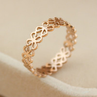 womens retro hollow out flower-shaped rose gold ring tail ring gift-144