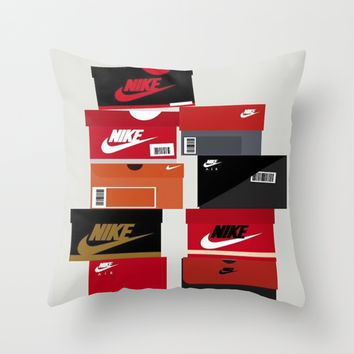 Sneaker Head Nike Red Throw Pillow by Luxe Glam Decor
