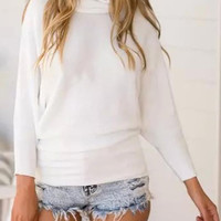 White High Neck Batwing Sleeve Knit Sweater