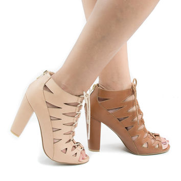 Rampage01V By Bamboo, Open Toe Ghillie Lace Up Chunky Heeled Sandals