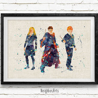 Harry, Ron, Hermione Watercolor Print, Harry Potter Baby Nursery Decor, Wall Art, Home Decor, Gift Idea, Not Framed, Buy 2 Get 1 Free!