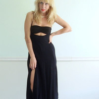 $65.00 Black Early 90s Tuxedo Suspender Dress with by VonlenskaVintage