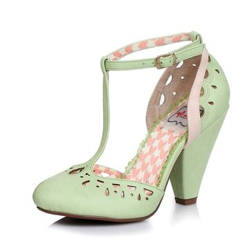 Ellie Shoes E-BP403-Elsie T Strap Closed Toe Cut Out Heel