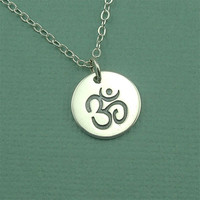 Om Tag Necklace - sterling silver handmade - yoga charm - om pedant jewelry