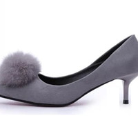 Womens Playful Cottonball Kitten Heels